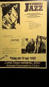 Flyer, Kvinder i Jazz og koncert med ISHTAR, Islands Brygges Medborgerhus Gimle, 10. maj 1985