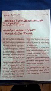 Konference, Kvinnliga tonsättare i Norden – från sekelskiftet till nutid, Nordiska kammarmusikdagar, Hässelby Slott, 22. – 26. august 1982